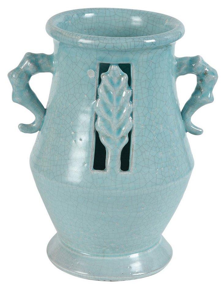 """10"""" Leaf Vase, Blue"""