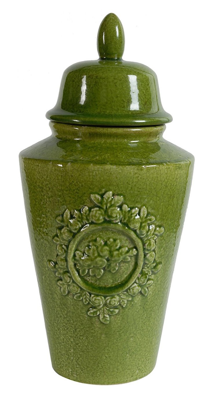 "21"" Lidded Wreath Jar, Green"