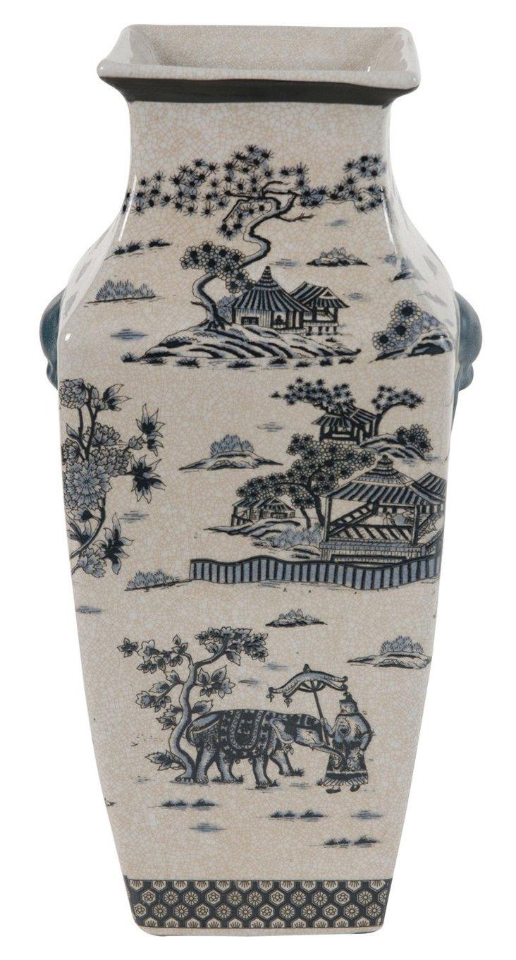 """16"""" Chinoiserie Vase, Gray/Cream"""