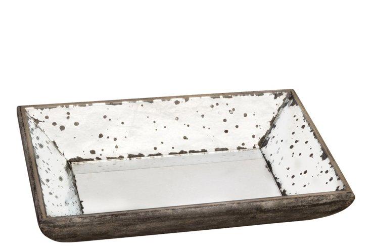 Mirrored Wood Tray