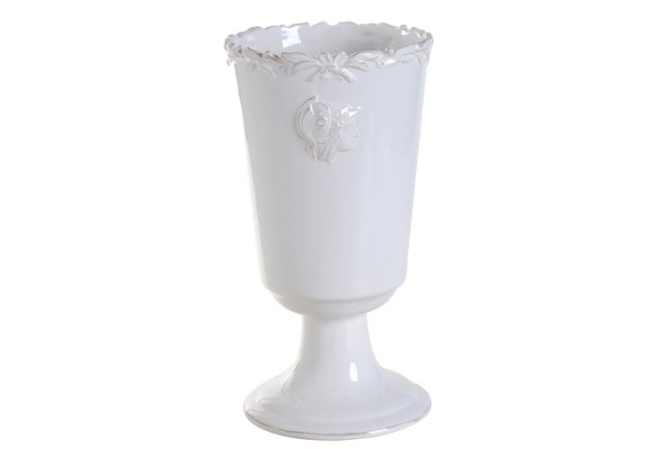 "12"" White Footed Vase"