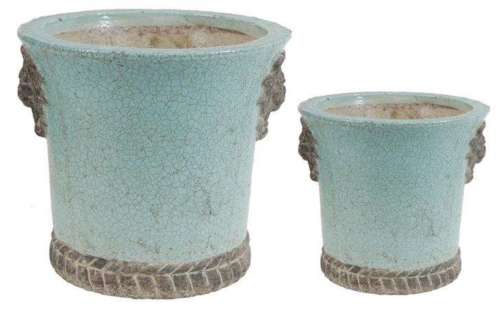 Asst. of 2 Crackle Planters, Blue