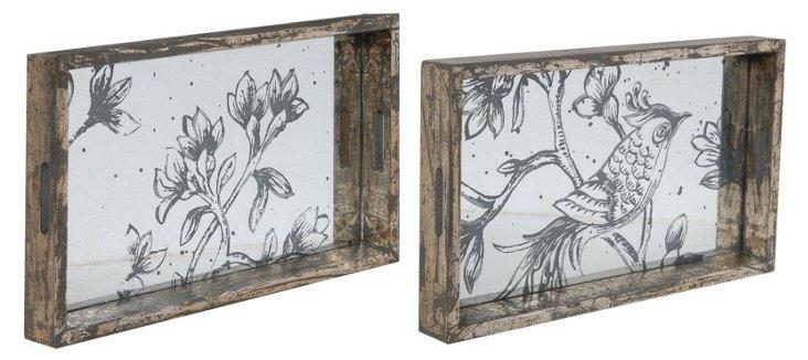 Asst. of 2 Mirrored Nature-Scene Trays