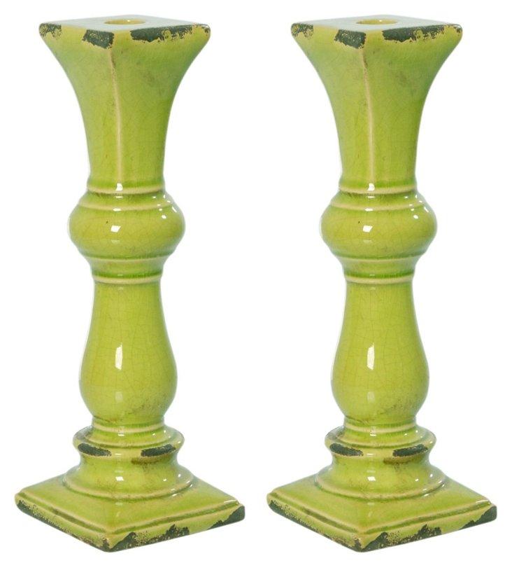 "11"" Ceramic Candleholders, S/2"