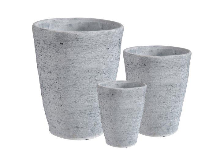 S/3 Textured Planters