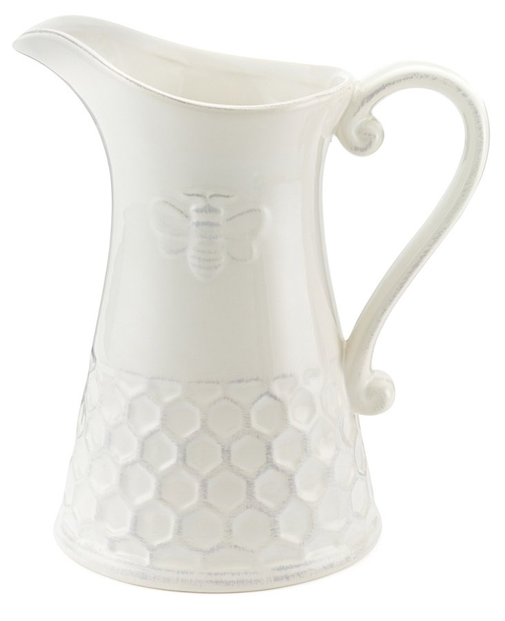 Tall Porcelain Bee Pitcher