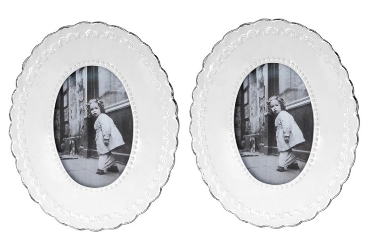 Pair of Oval Frames, 4x6, White