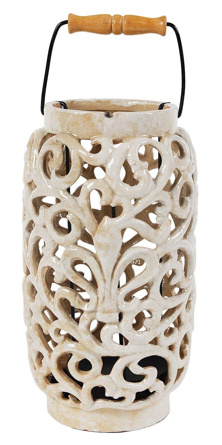 Pierced Ceramic Lantern, Large
