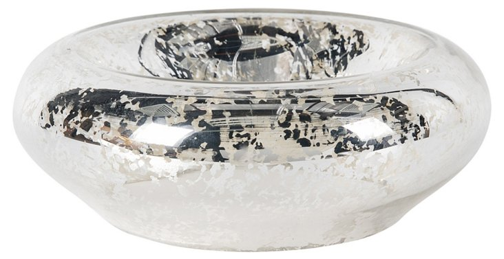 """4"""" Mercury Candle Bowl, Silver"""