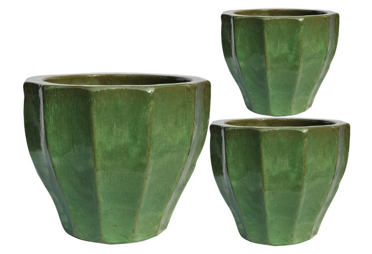 S/3 Textured Planters, Green
