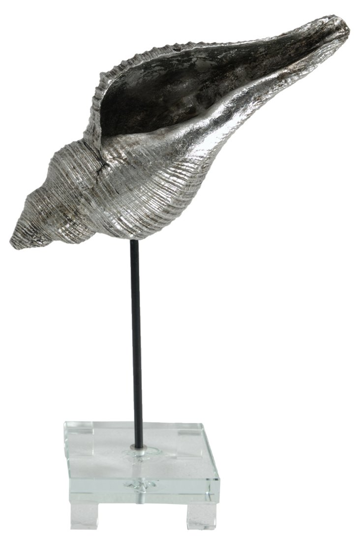 Large Conch Shell w/ Stand, Silver