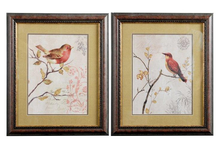 Red Birds Wall Art Set