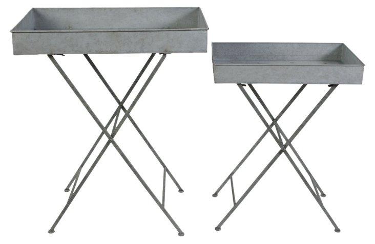 Asst. of 2 Metal Folding Trays, Gray