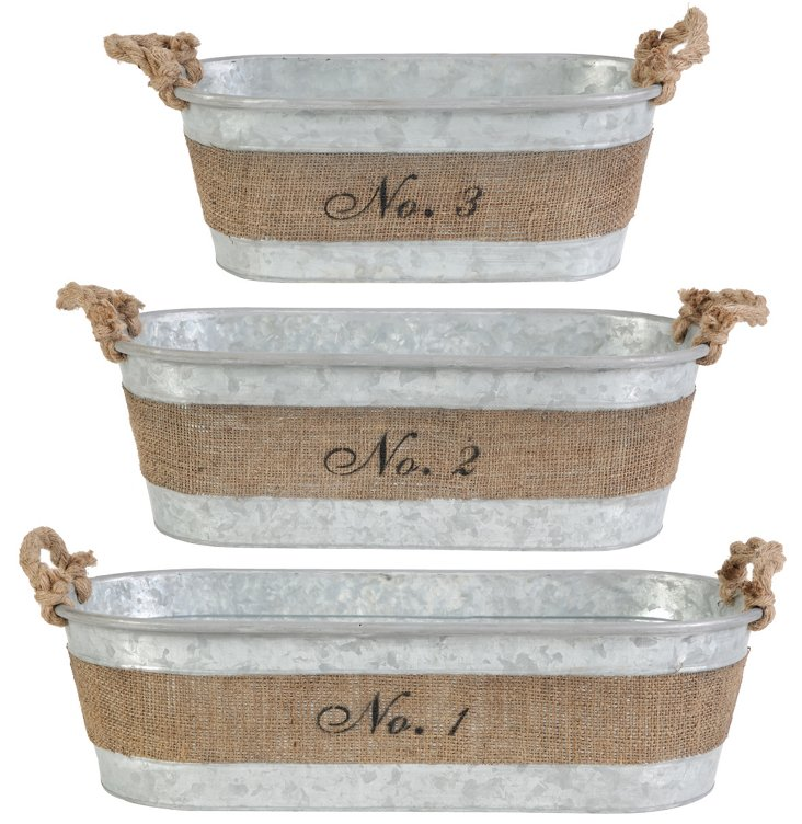 Oval Hemp-Wrapped Planters, Asst. of 3