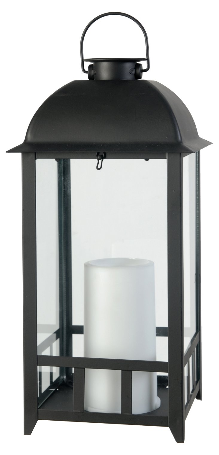 "15"" Lantern w/ Solar-Power Candle, Black"