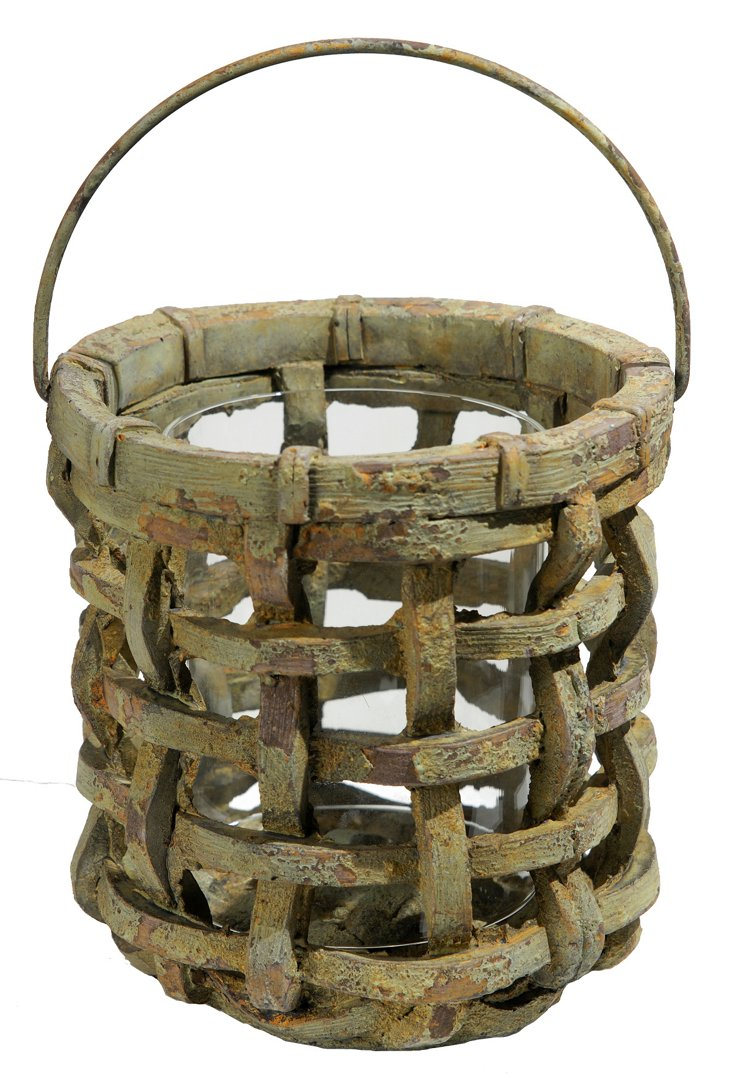 Woven Cement Candleholder, Sage