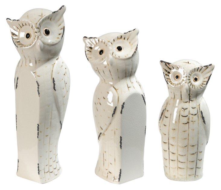 Asst. of 3 Owl Family Decor, White