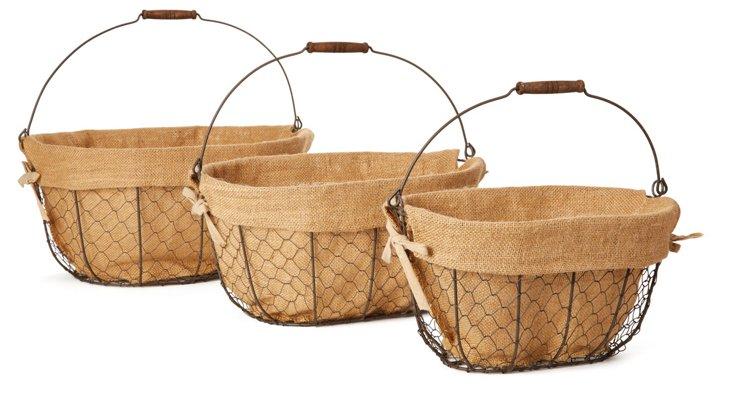 Asst of 3 Oval Baskets w/ Linen