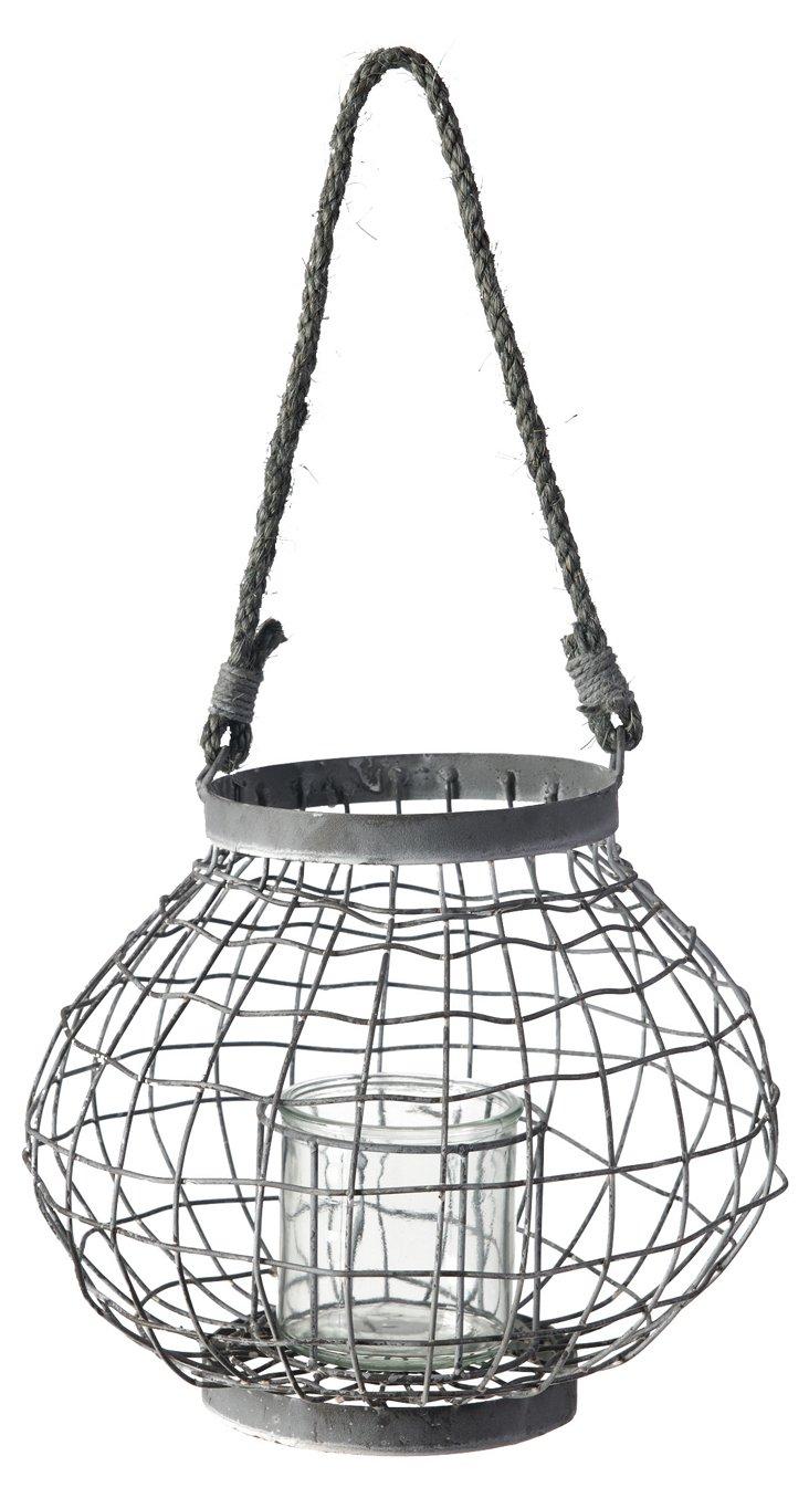 """10"""" Woven Metal Hanging Lantern, Gray"""
