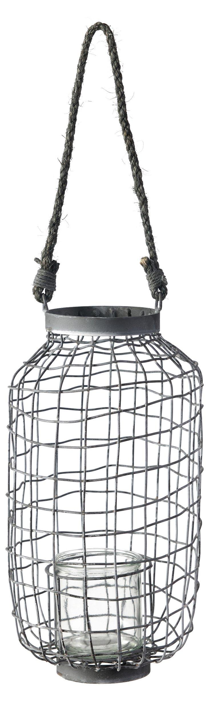 """16"""" Woven Metal Hanging Lantern, Gray"""