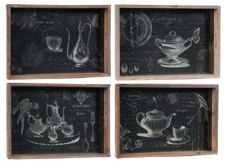 Asst. of 4 Teapot Trays, Black