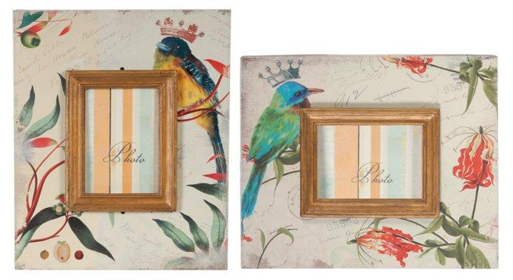 Asst. of 2 Bird Frames, 4x6, Cream/Multi