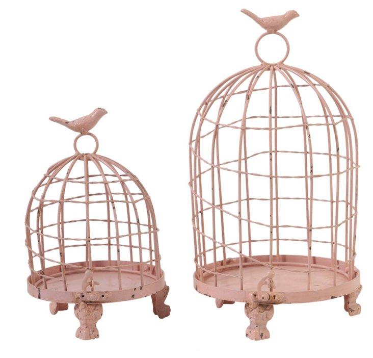 Set of 2 Birdcages, Pink