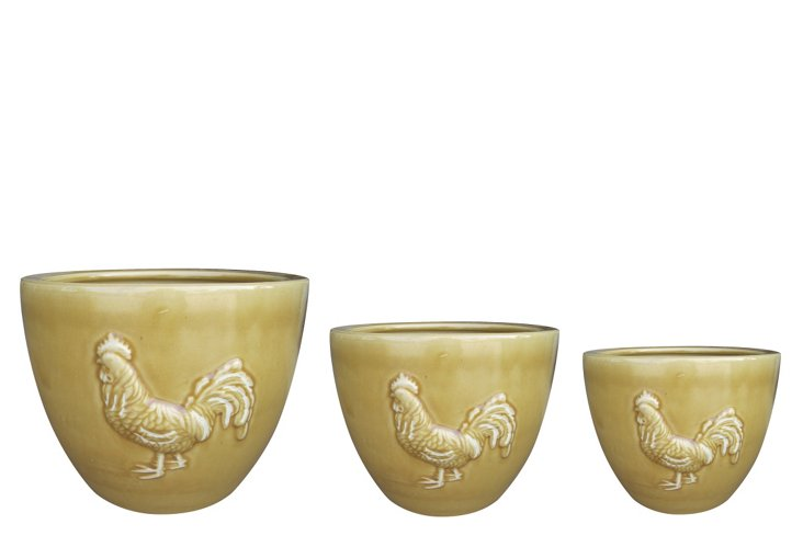 S/3 Rooster Pots, Yellow