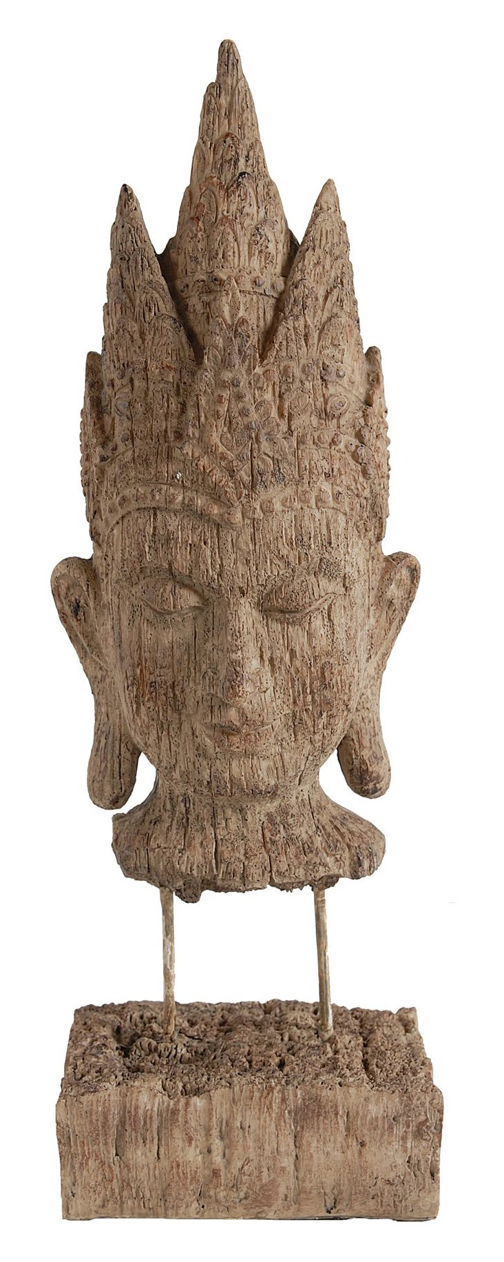 "16"" Buddha Head on Pedestal, Brown"