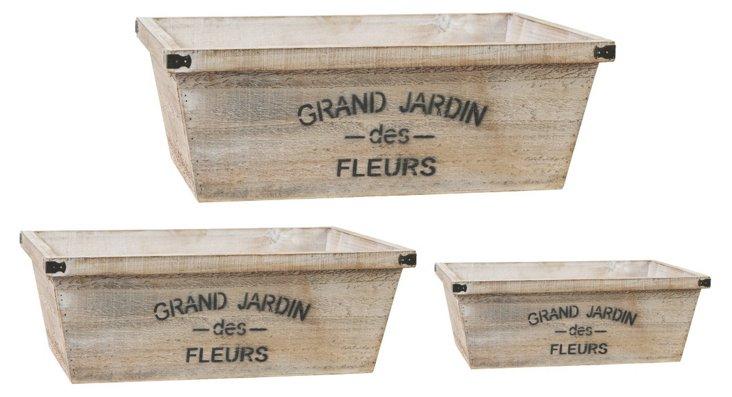Asst. of 3 Grand Jardin Planters, Brown