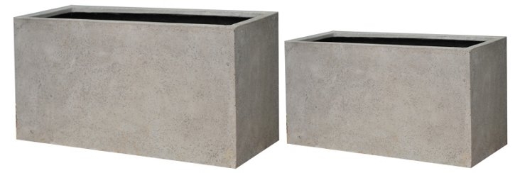 S/2 Rectangle Planters, Gray