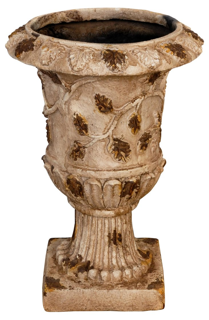 "21"" Urn with Leaves, Beige"
