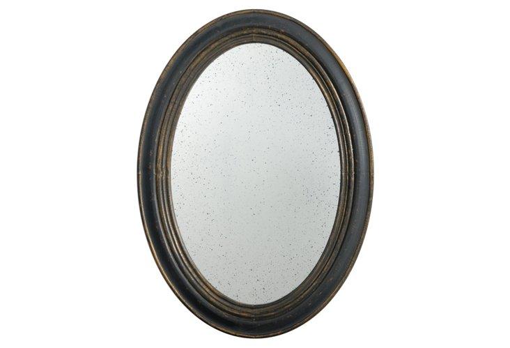Antiqued Oval Mirror, Black