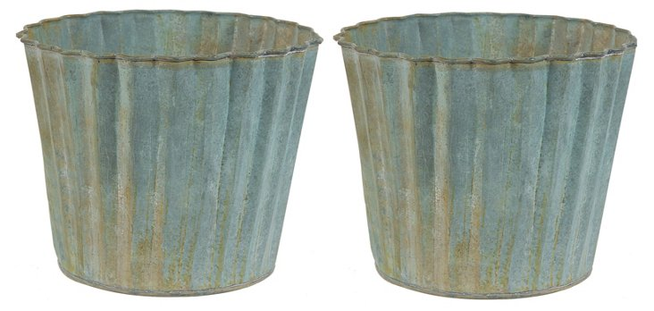 "S/2 6"" Scalloped Planters, Gray"