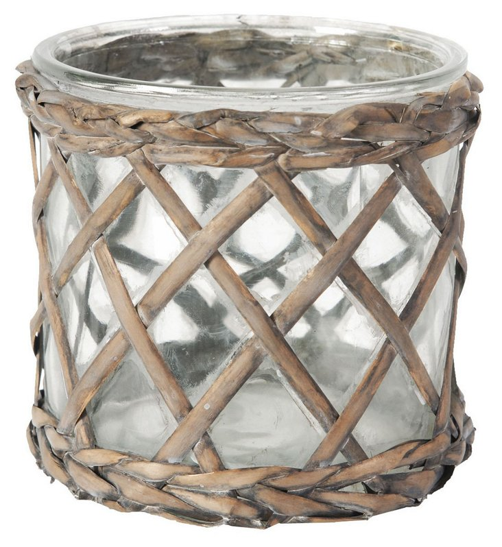 """6"""" Braided Willow Candleholder, Brown"""