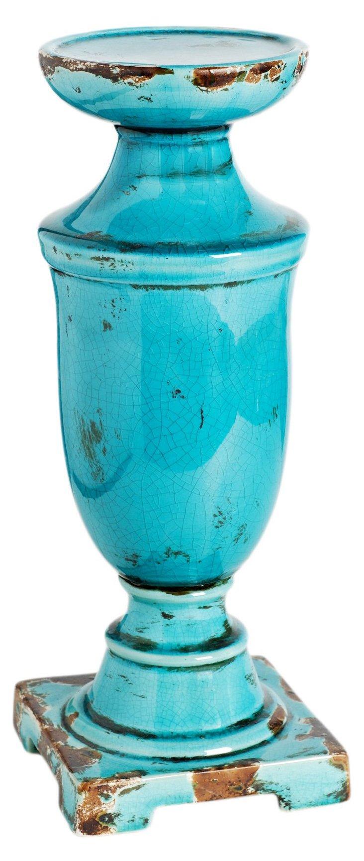 """14"""" Ceramic Candleholder, Turquoise"""