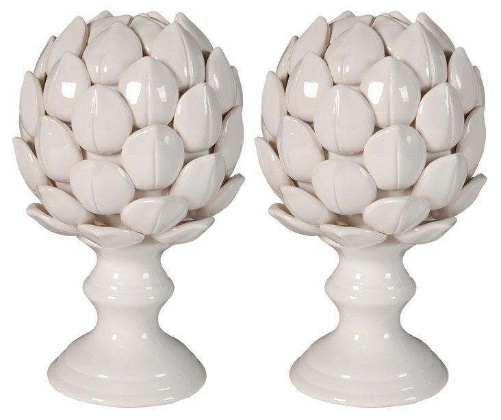 Pair of Artichoke Finials, White