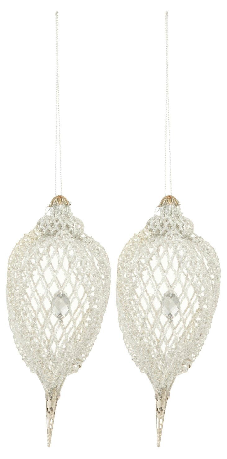 S/2 Mesh Ornaments, Silver