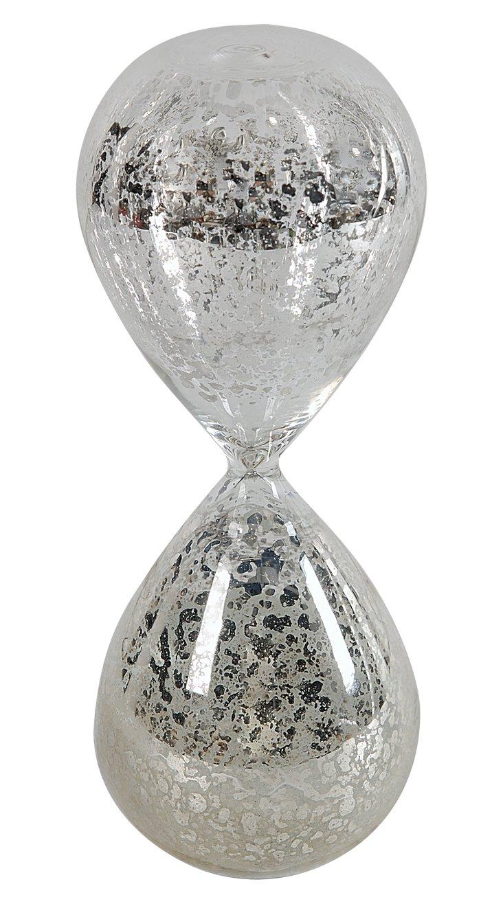 Mercury Glass Hourglass, White