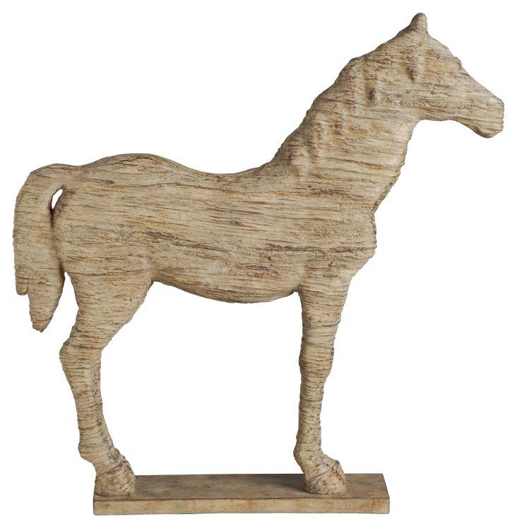 "20"" Standing Horse Figurine, Tan"