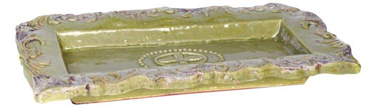 Green Ceramic Tray, Large