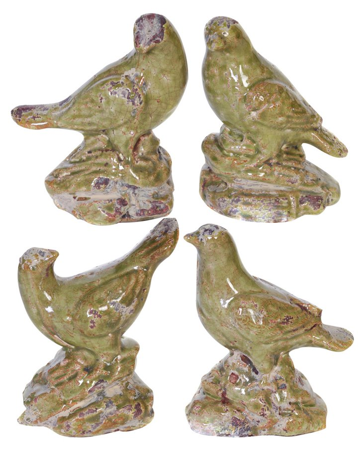 Green Ceramic Birds, Asst. of 4