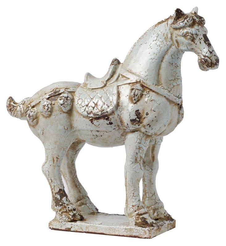 "17"" Classical Horse Statue, Off-White"