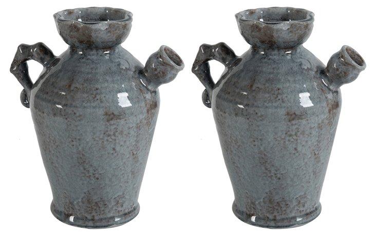 """S/2 8"""" Rustic Slate Pots"""
