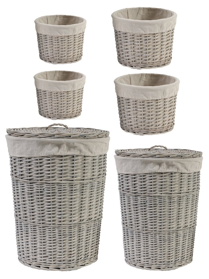 S/6 Willow Baskets w/ Lining
