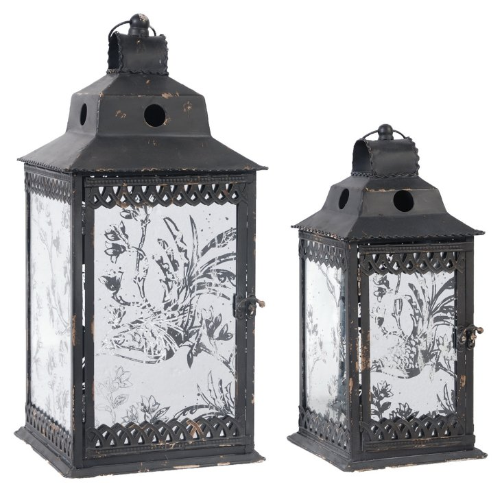 S/2 Etched Glass Lanterns