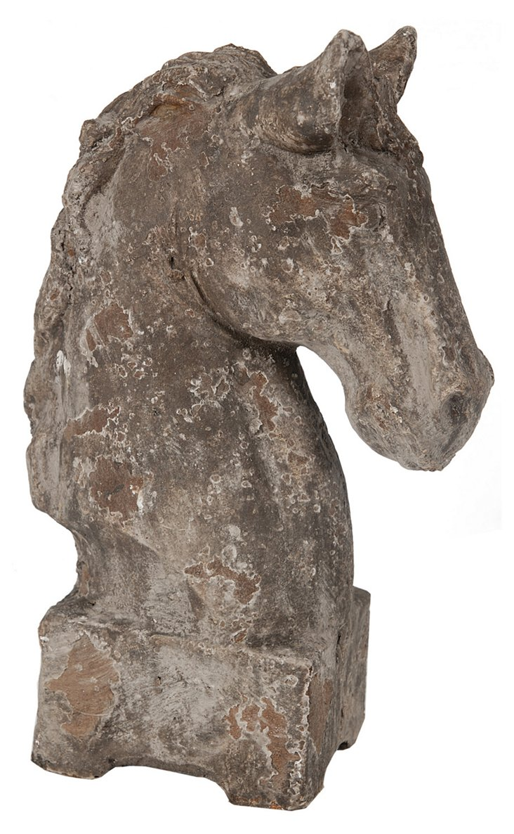 "11"" Weathered Horse-Head Figurine, Brown"