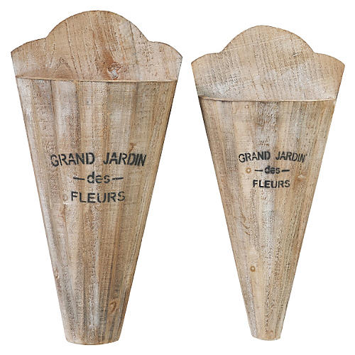 Asst. of 2 Grand Jardin Vases, Tan
