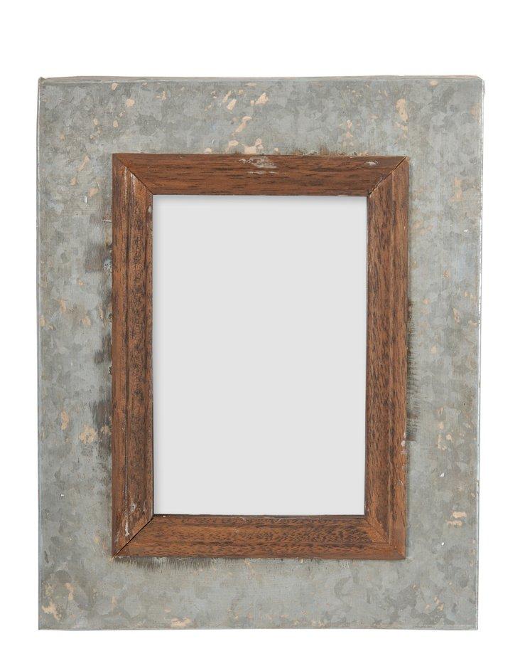 Metal-and-Wood Frame, 8x10, Gray/Brown