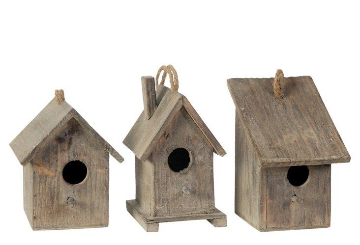 Wooden Birdhouses, Asst. of 3